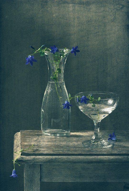 синий, натюрморт, стекло, цветы, свет С синими цветочкамиphoto preview