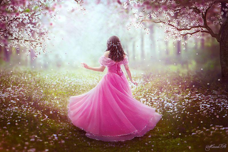 цветение, вишня, весна, волшебство, лес, девушка Fairy art / Bloomingphoto preview