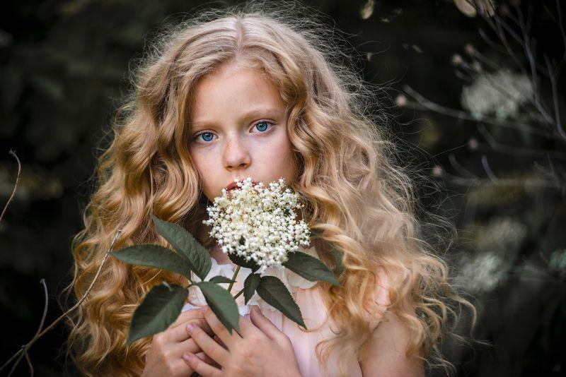девушка взгляд глаза волосы пальцы прическа цветок флора зелень лето Девочка с цветкомphoto preview