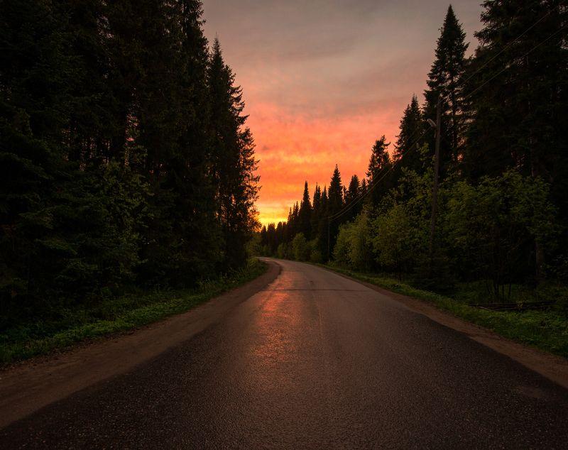 дорога,закат,россия Дорога на закатphoto preview