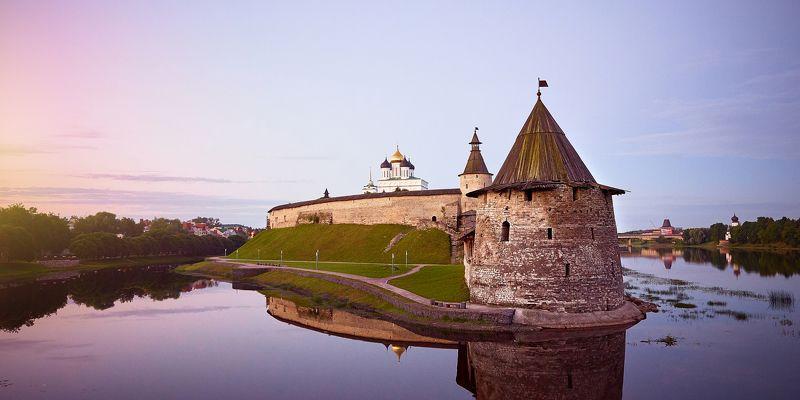 псков, кром, кремль, рассвет, пейзаж, архитектура, туризм, старая крепость, крепость Кром. Псков.photo preview