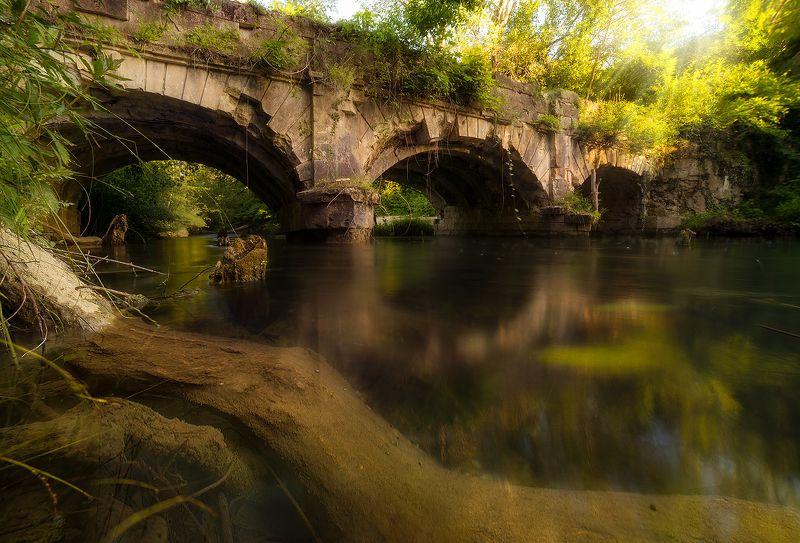 акведук, река, крым, лето, мост, лес \