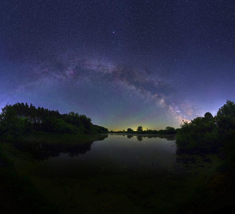 ночь панорама, ночной пейзаж, пруд, звезды, млечный путь, май, золотоноша, may, milky way, stars, night, rpond, pano, nightscape, zolotonosha Бессонная июньская ночьphoto preview