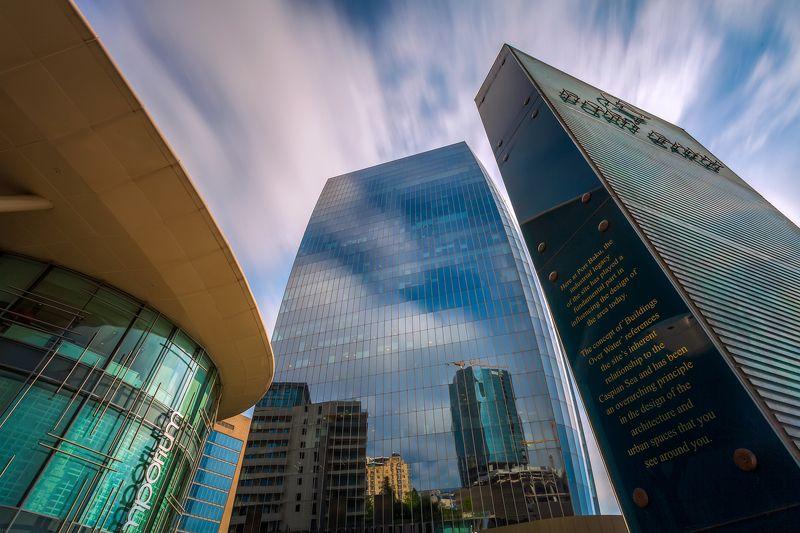 небо, небоскребы, здание, отражение, голубой, Баку, Азербайджан С высоко поднятой головойphoto preview