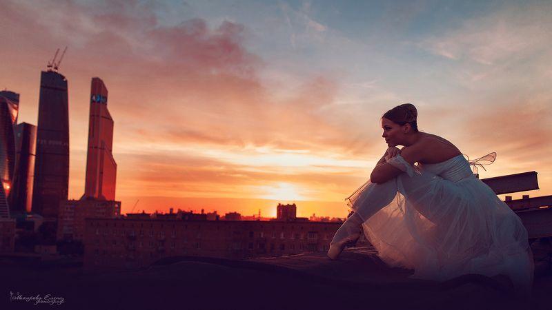 балет, закат, портрет, прыжок Над Москвойphoto preview