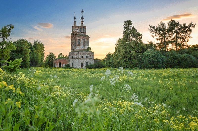 лето,храм,цветы,закаты,природа, Ароматы лета.photo preview