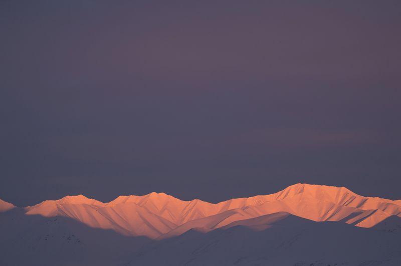 север, арктика, чукотка, снег, вечер, закат, горы, небо Вечерний светphoto preview