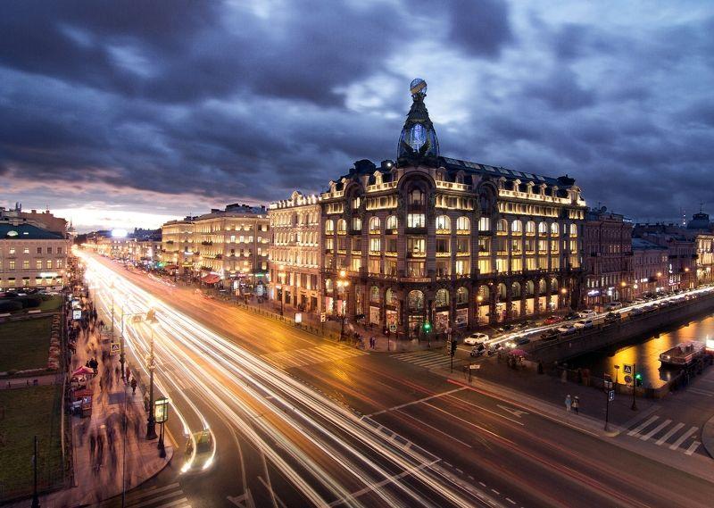 санкт-петербург, россия, горрод, ночь, городской пейзаж, Невский проспектphoto preview