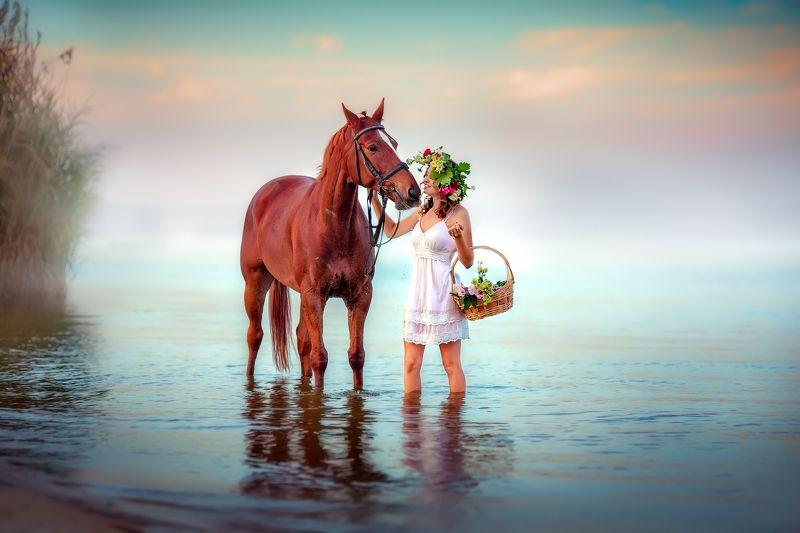 рассвет, ивана купала, девушка, лошадь, море, речка, цветы Одна светлая и звонкая, как рассвет...photo preview