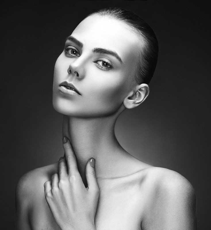 портрет, beauty, portrait, black, &, white девушкаphoto preview