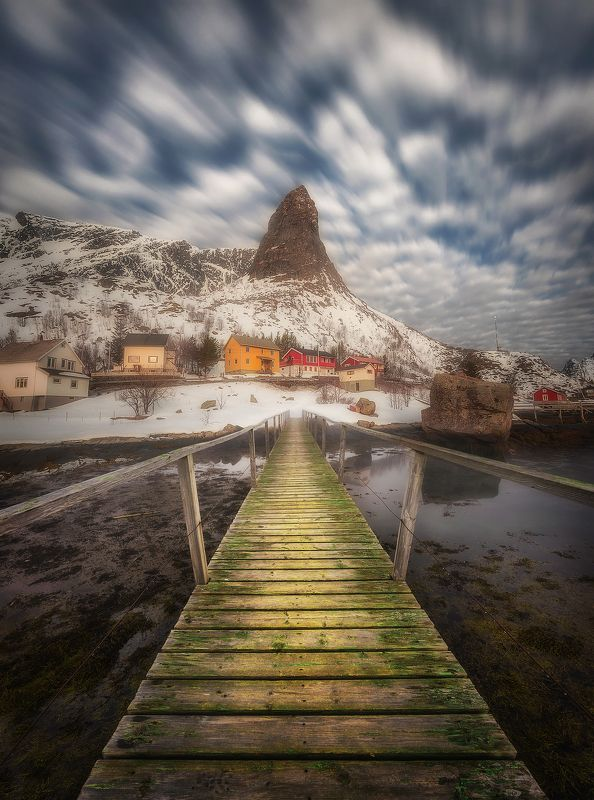 long exposure, clouds, Reine, Lofoten, Norway, fjord, village, bridge, sea, water, mountains, Bridgephoto preview