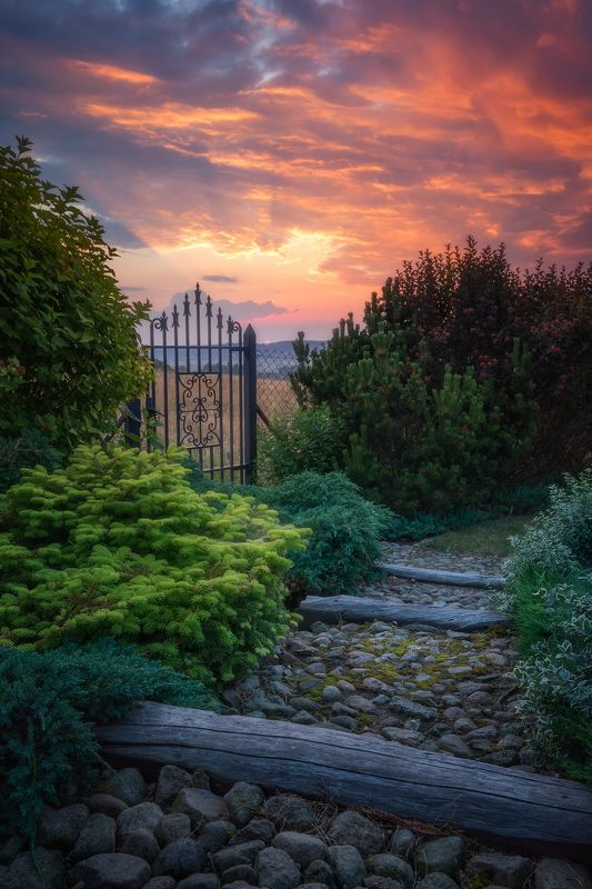 poland podlasie sky clouds sunset gate garden outdoor spring mood The only way is lightway...photo preview