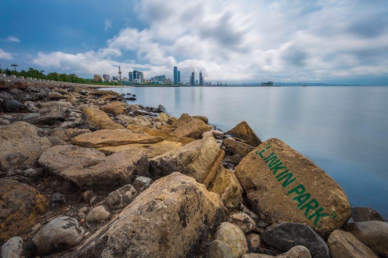 пейзаж, море, Баку, Азербайджан, приморский парк, небо, облака, ND1000 Посвящение на камнеphoto preview