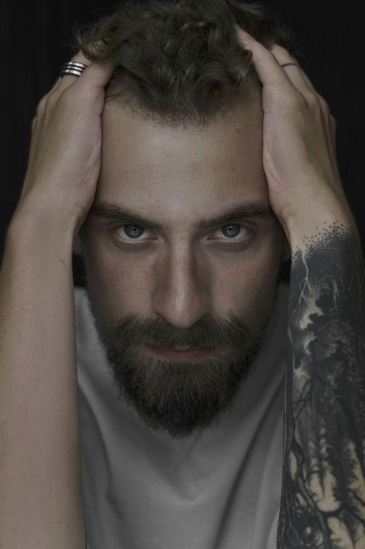 #male #model #tattoo #studio #natural #light #blue #eyes Krzysztofphoto preview