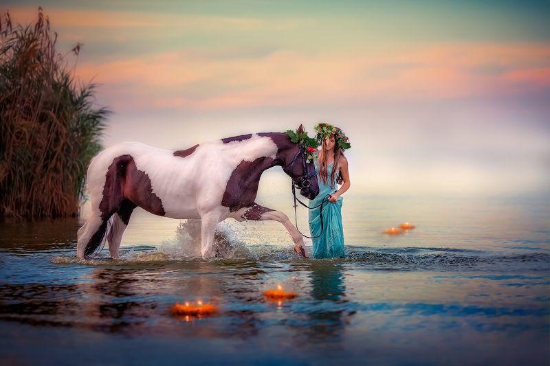 ивана купала, девушка, лошадь, море, речка Другая таинственная и волшебная, как закат...photo preview