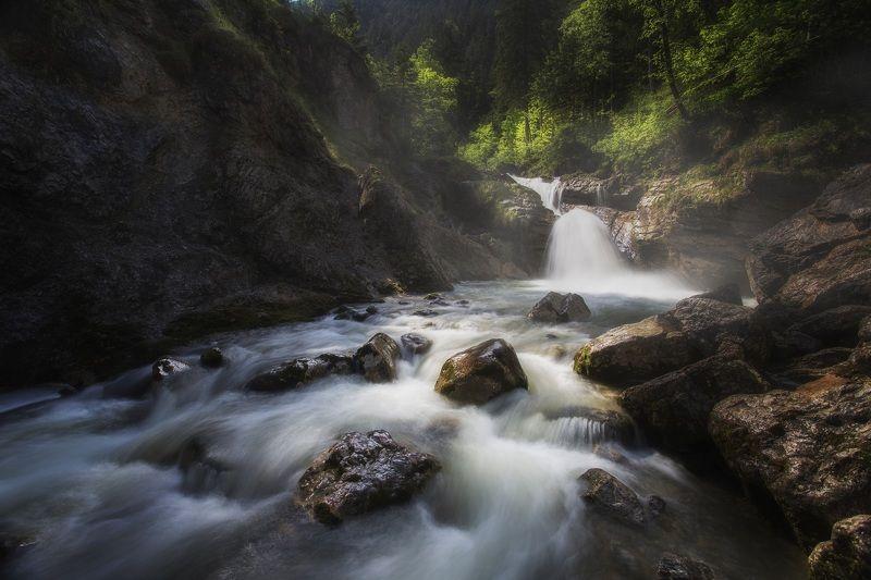 Река, горы, водопад, германия Горная река. Бавария.photo preview