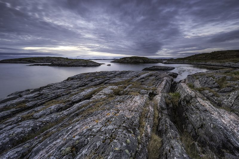 landscape, midnight, norway, atlantic ocean road, rocks, seacape Blue Hourphoto preview