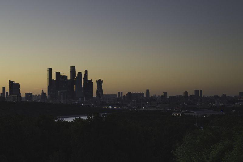 Москва, Воробьевы Горы, Москва-Сити, вечер, заря, город, столица, река После закатаphoto preview