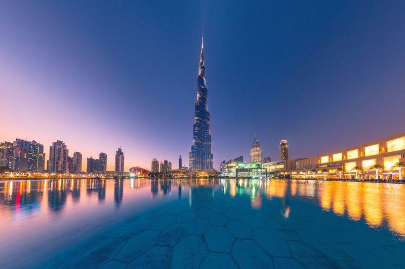 dubai, architecture, skyscrapers, cityscape, дубай, оаэ, burj khalifa, бурж халифа, город, архитектура, небоскребы, цветы, рассвет, утро Бурж Халифа на закатеphoto preview