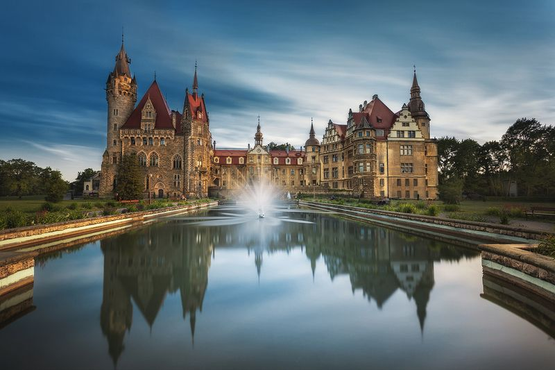 palace, castle, building, architecture, pool, water, long exposure, clouds,  Palace in Mosznaphoto preview