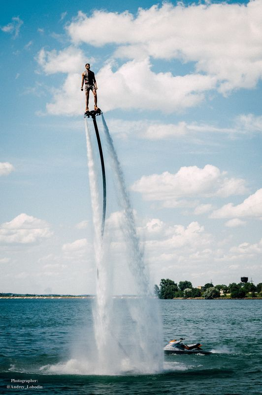 sport, man, color, board, fly board, fly, sky, people, landscape, travel, спорт, цвет, люди, вода, море Акваменphoto preview