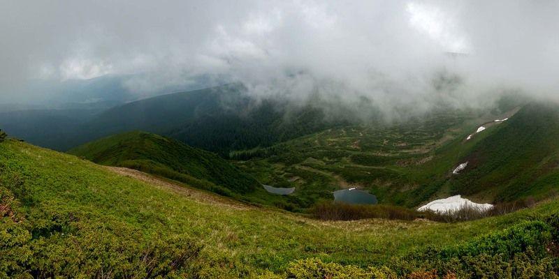 карпаты, горы, облака, небо, дымка, драгобрат, озеро, снег На уровне небаphoto preview