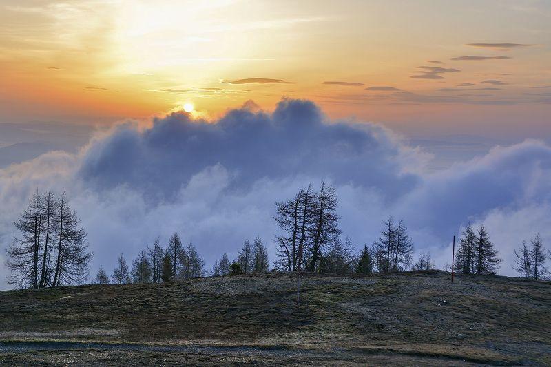 Горы, Альпы, высота, солнце Воины света отступаютphoto preview