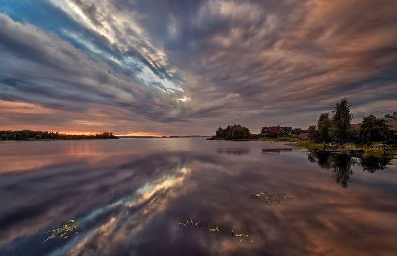 пейзаж,озеро,вечер,закат,деревня Карельские озёраphoto preview
