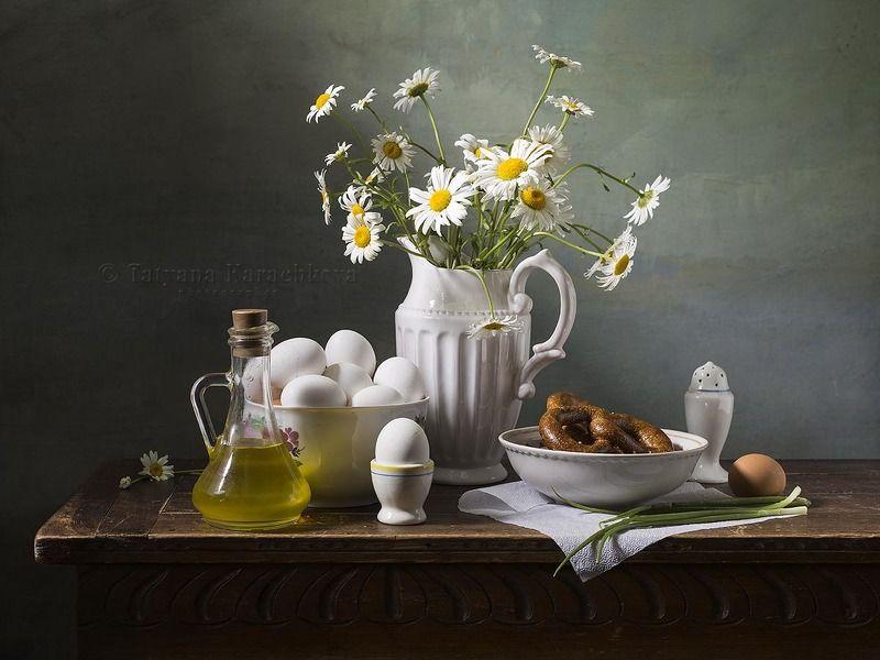 натюрморт, цветы, ромашки, яйца, олейник, кувшин Летний натюрморт с яйцамиphoto preview