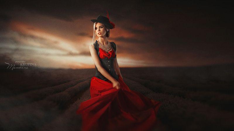 портрет, модель, поле, лаванда, portrait ....photo preview