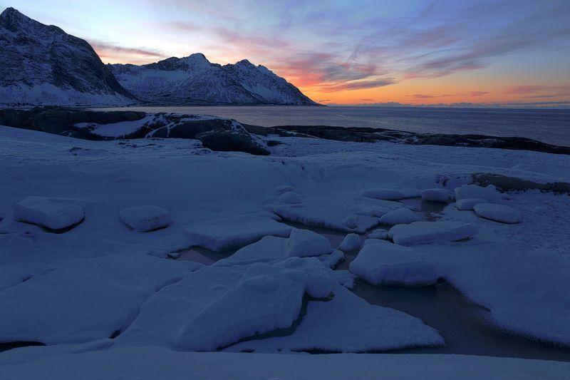 Закат, берег, путешествие, Норвегия, зима, landscape, norway, senja, travel На берегу зимойphoto preview