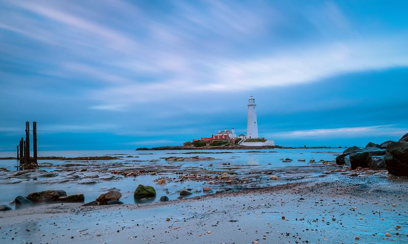 Stunning Sunset over the North Sea. St. Mary\'s Lighthouse. UKphoto preview