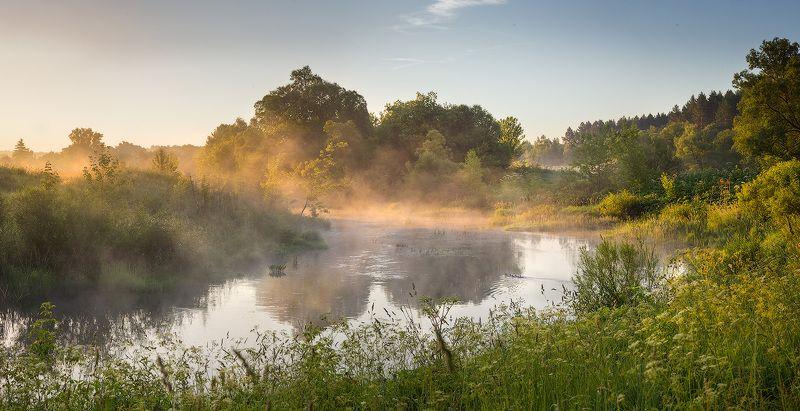 landscape, nature, morning, sun, river, fog, утро, река, пейзаж, природа Рассвет в день солнцестоянияphoto preview