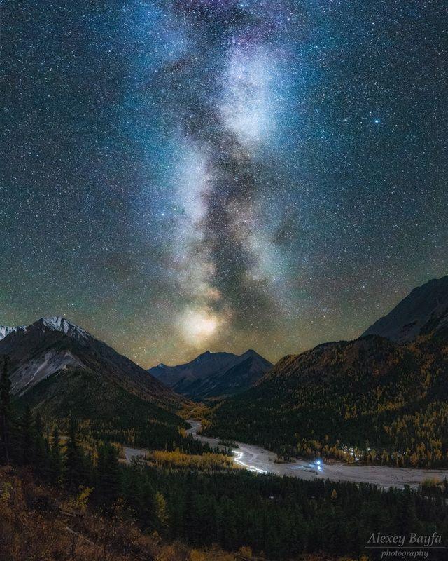 горы, звёзды, осень, млечный путь, пейзаж, ночь Осенней ночьюphoto preview