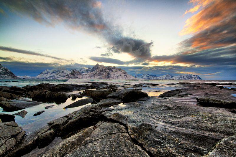 lofoten, winter, sea, rocks Lofoten in winterphoto preview