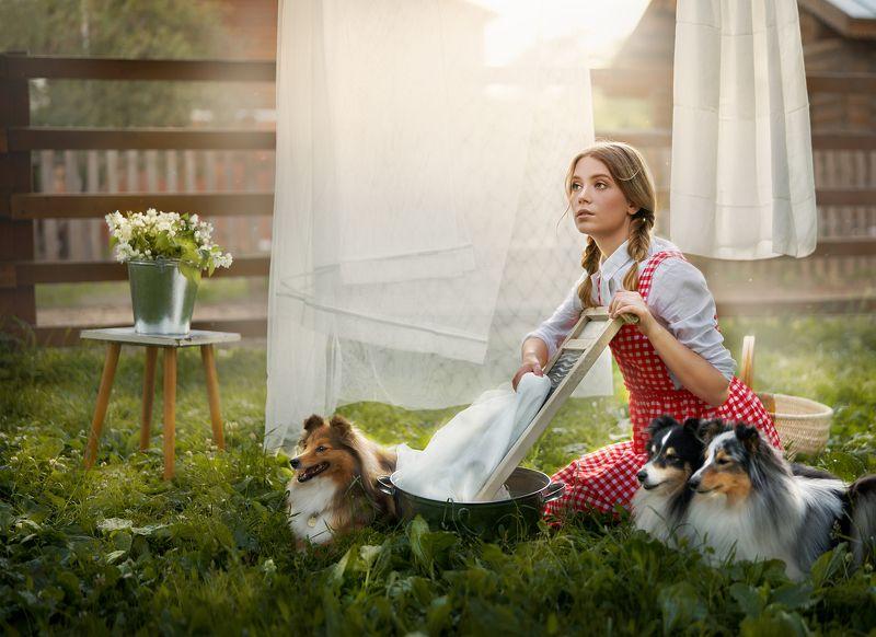 девушка, лето, собака, собаки, портрет, красиво, прачка, деревня Прачкаphoto preview