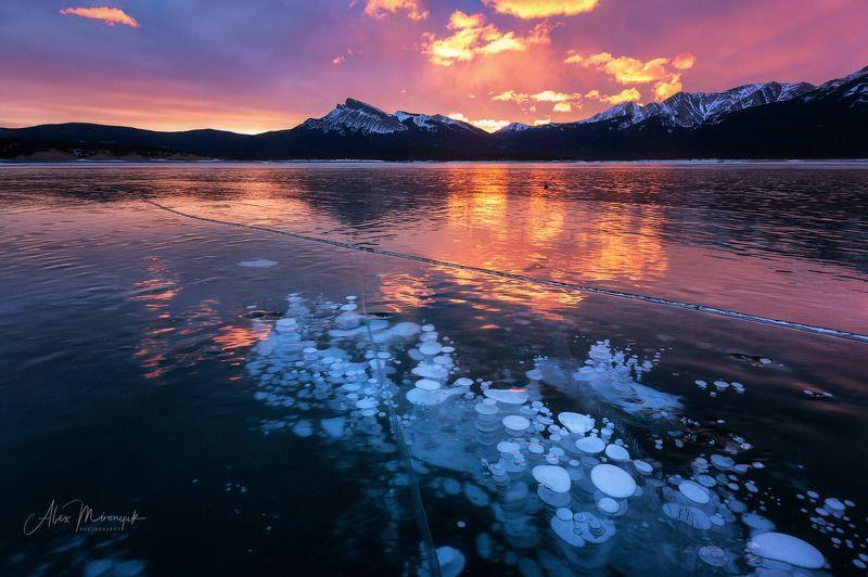 канада, альберта, метан, метанин, пузыри, лед, фото-тур, отражение, зима, снег, лед, горы, озеро, байкал, Горящий ледphoto preview