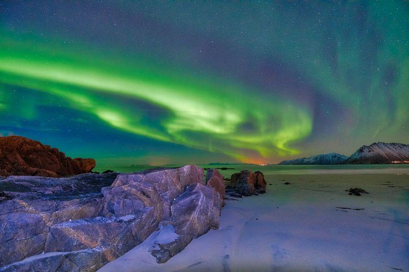 aurora, sea, rocks, green, Aurora in the nightphoto preview