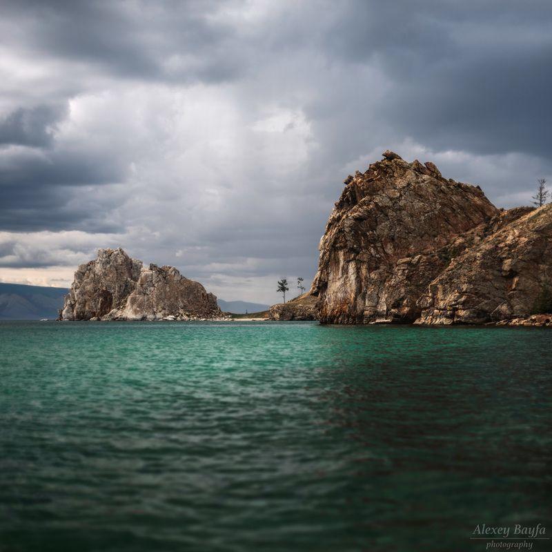 природа, пейзаж, озеро, байкал, ольхон, вода, облака Байкальские скалыphoto preview