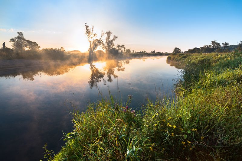 рассвет,туман,утро,солнце,отражения Летнее тепло,утреннего солнцаphoto preview
