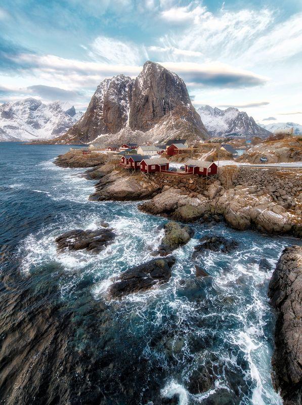 hamnøy, village, winter, sea, rocks Hamnøyphoto preview