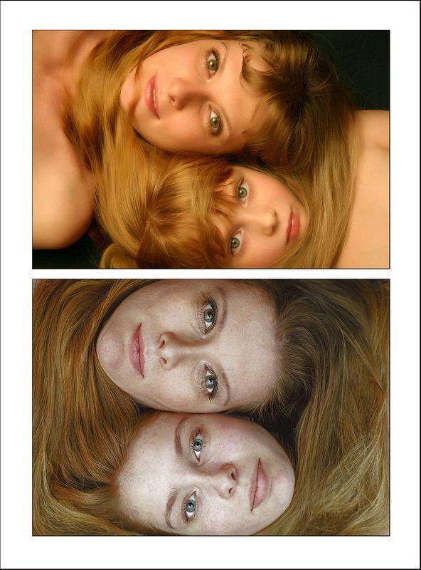 мать и дочь, красота. женский портрет, через 9 лет Дочки-материphoto preview