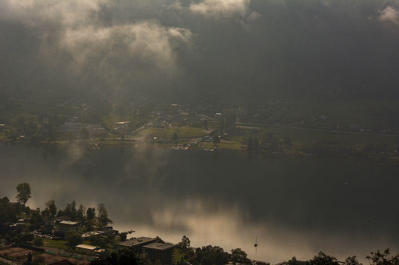 утро, туман, озеро, свет, городок Боденсдорф Поляризованный свет над озеромphoto preview
