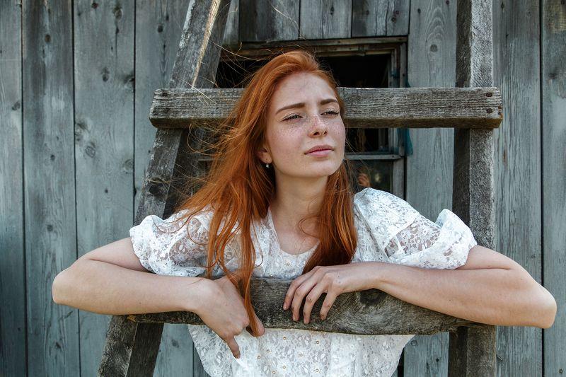 рыжие волосы, веснушки, девушка,красота. ветер.юность Машаphoto preview