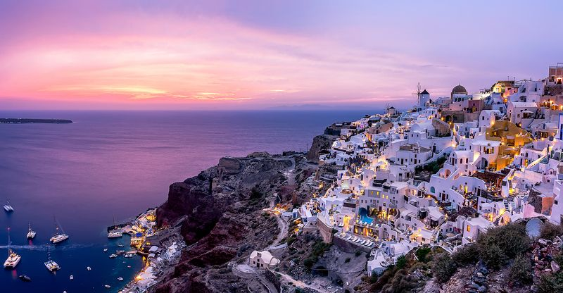 sunset, horizon, coastline, horizon over water, dramatic sky, waterfront, dusk, sky, cloud, seascape, santorini island, greece island, purple, architecture, cyclades_islands, travel destinations Santorini after sunset.photo preview