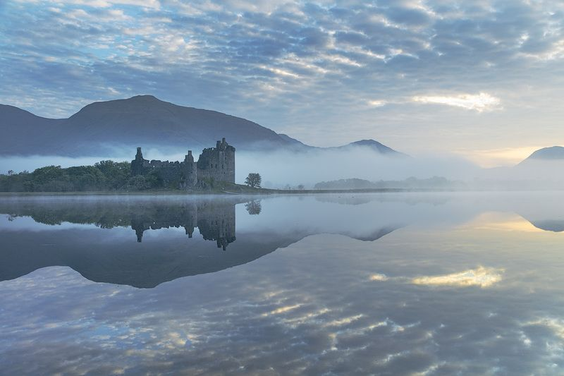 шотландия, замок, пейзаж, рассве,т туман, облака, scotland, landscape, castle, sunrise, fog, clouds Рассвет в Шотландииphoto preview