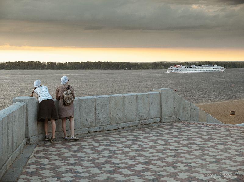 набережная, пляж, корабль, девушки, закат, лето, андрейларионов ***photo preview