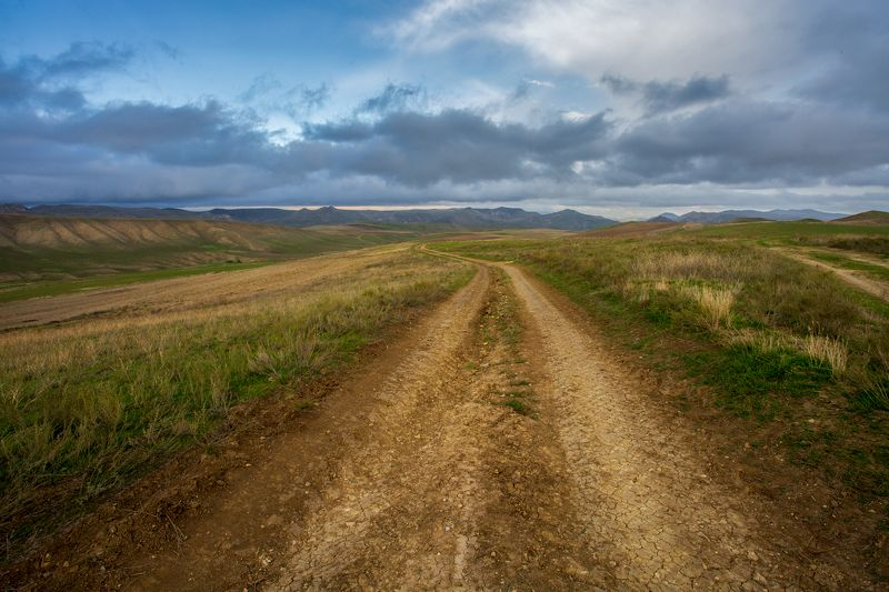 пейзаж, дорога, небо, перспектива, азербайджан Дорогаphoto preview