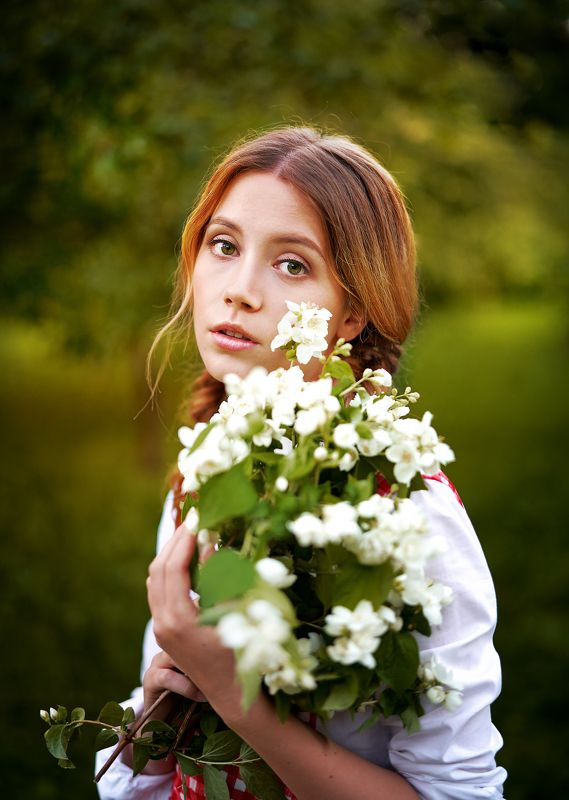 девушка, жасмин, красиво, портрет, лето Девушка с жасминомphoto preview