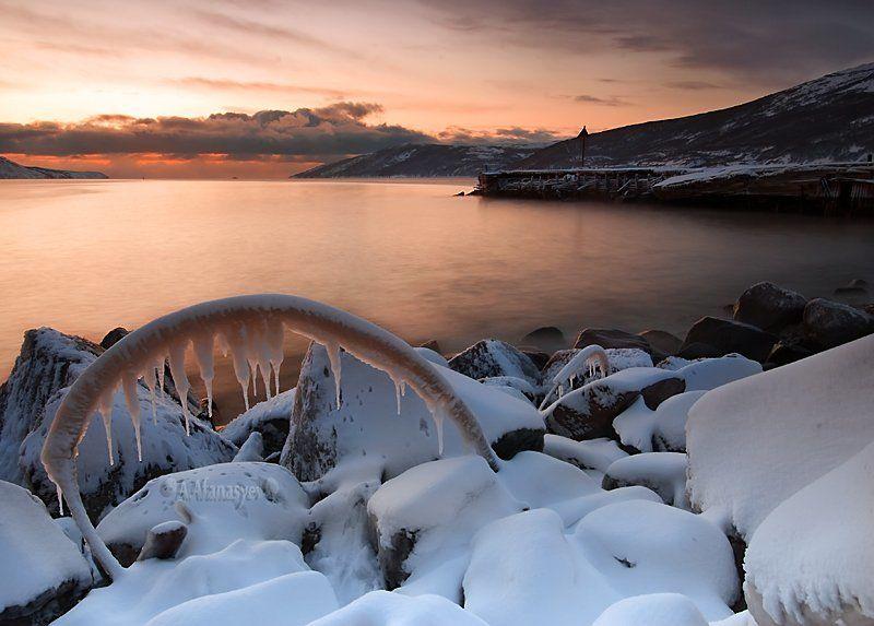магадан, закат, бухта, нагаева, вечер, лед, снег, охотское, море закат бухты Нагаеваphoto preview
